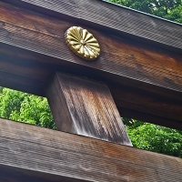 Détail sur le deuxième torii d'entrée au Meiji-jingū