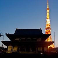 Vue de la tour de Tokyo depuis le temple Zojo-ji